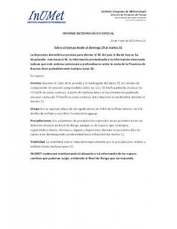 INFORME METEOROLÓGICO ESPECIAL